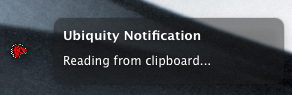 Message confirming input read from clipboard